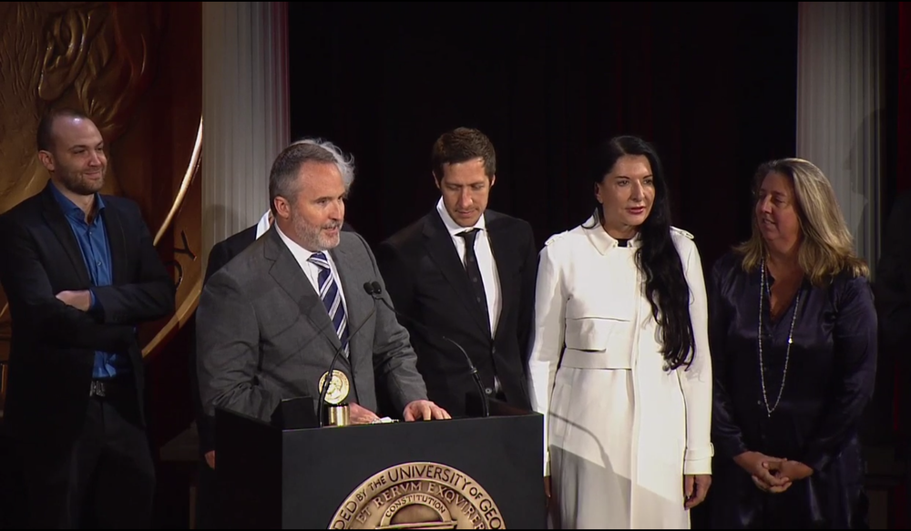 Peabody Award win for MARINA ABRAMOVIC: THE ARTIST IS PRESENT. L-R: Nathan Halpern, Donna Shepherd, Jeff Dupre, Matthew Akers, Marina Abramovic, Maro Chermayeff.