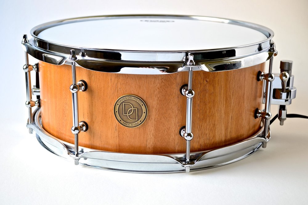 """Pictured: 5.5"""" X 14"""" Mahogany Stave Snare rum"""