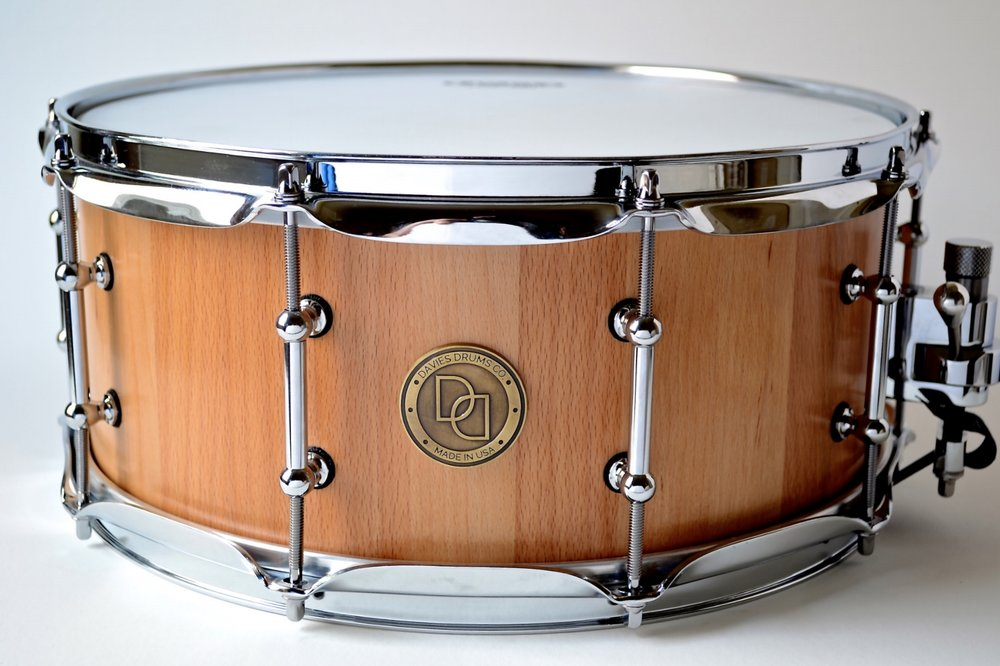 "Pictured: 6.5"" X 14"" Beech Stave Snare Drum"