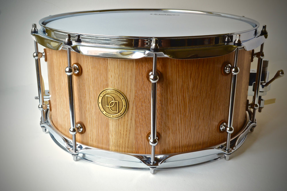 "Pictured: 7"" X 14"" White Oak Stave Snare Drum"