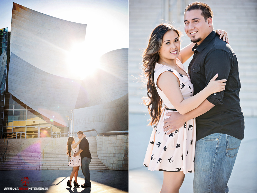, Jen and Gil's Engagement Session at the Walt Disney Concert Hall, Union Station, and LA Live | Los Angeles Wedding Photographers
