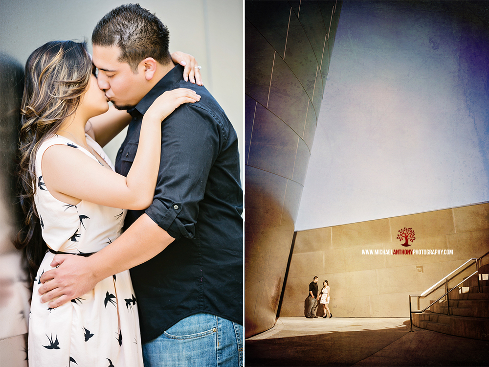 , Jen and Gil's Engagement Session at the Walt Disney Concert Hall, Union Station, and LA Live   Los Angeles Wedding Photographers