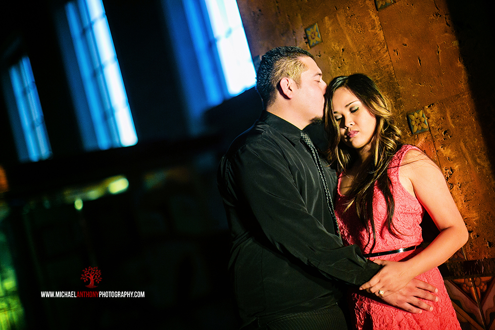 An Engagement Photo taken at Union Station in Downtown LA