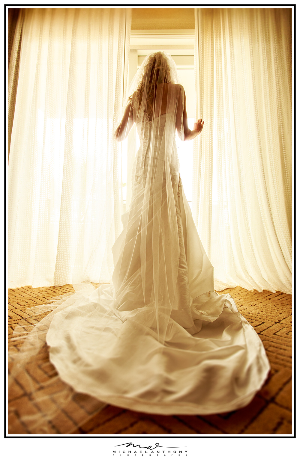 A photo from the guest room at the Hyatt Huntington Beach by Los Angeles Wedding Photographers Michael Anthony Photography