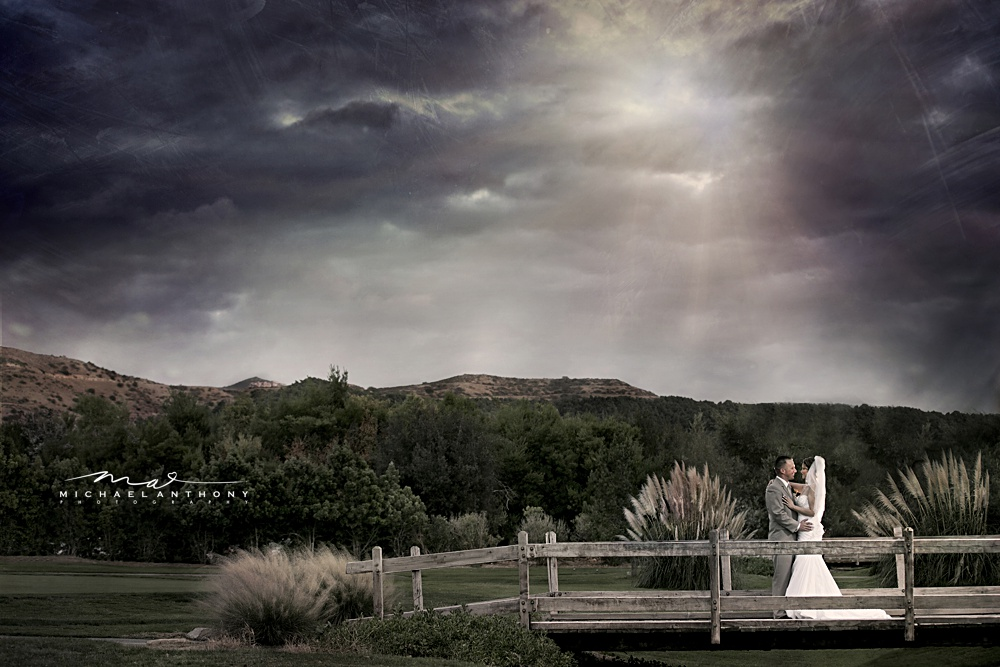 A wedding photo taken at Pala Mesa Resort in Fallbrook, just outside of Temecula Valley