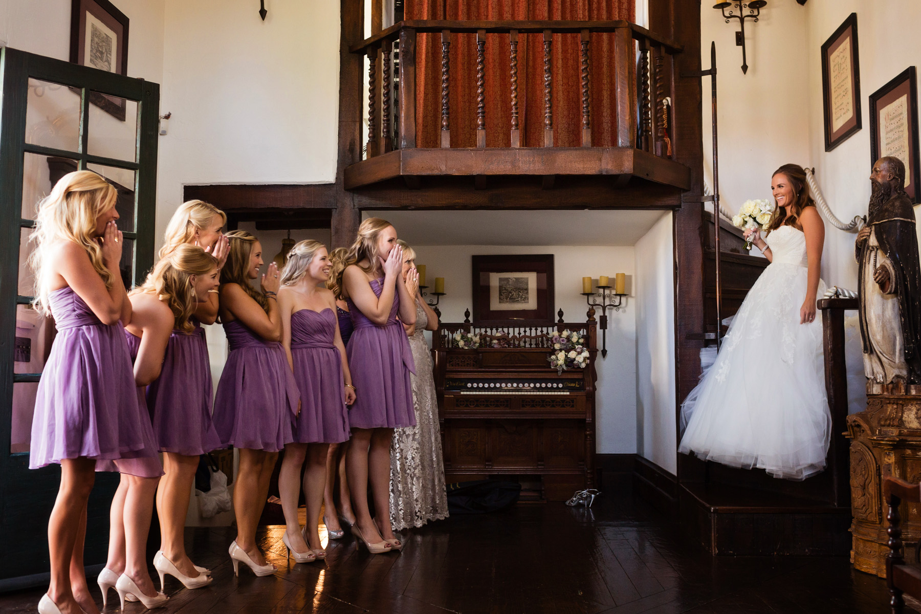 Andrea and Jason got married at The Mission San Juan Capistrano, a pretty OC wedding venue.  This was the first time her bridesmaids saw her in her dress!