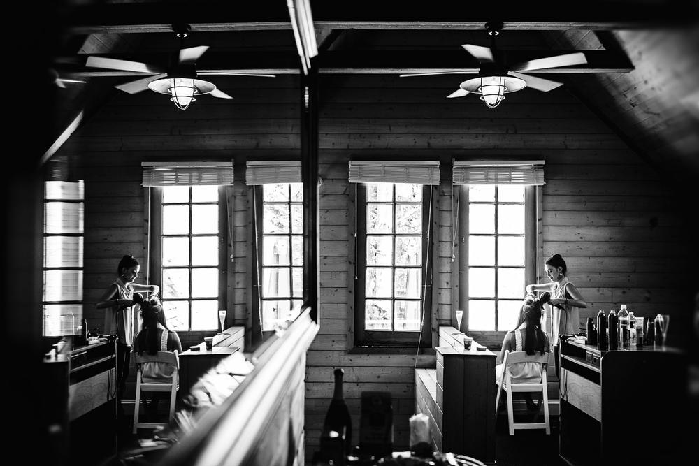 The bridal prep room at Calamigos Ranch has a cool cabin feel to it.