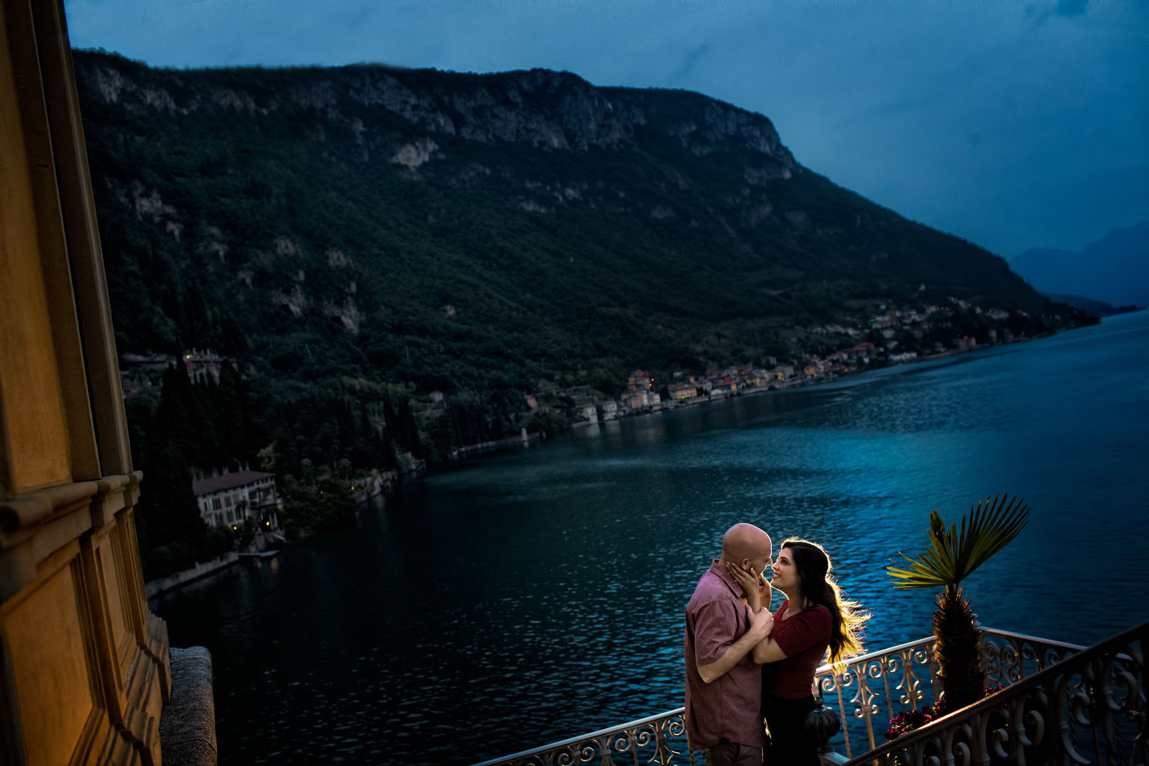 Joey and Kristine photographed in Lake Como the night before their Italian Destination Wedding