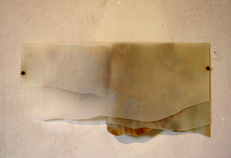 "Amanda Hughen,  Swaddle , ink on translucent rubber, 8x20"", 2004. Installation at the Headlands Center for the Arts."