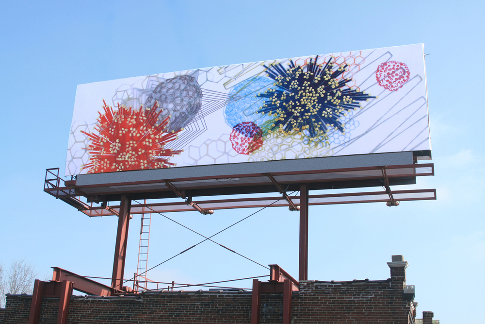 Amanda Hughen,  Binary Convergence , 14 x 48 feet, billboard, St. Louis, MO, 2010. Photo 2010 © John White, St. Louis Post-Dispatch.