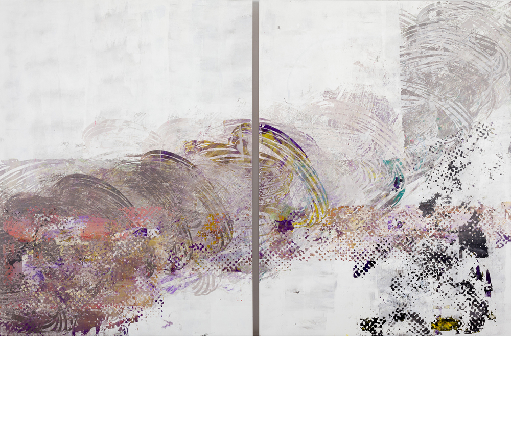Amanda Hughen, Afghan 13 (010615A1A2 from Associated Press), Ink and acrylic paint on wood panels, 40hx62w in. (diptych), 2015