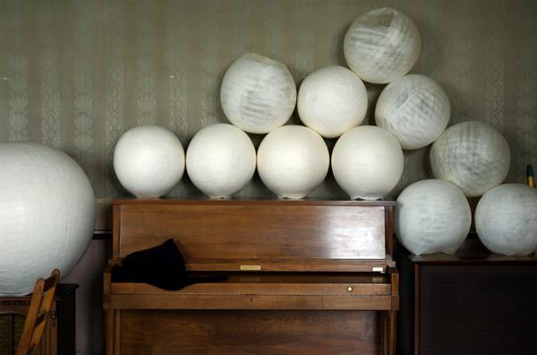 Studio View Piano and Orbs,Sarah Bouchard