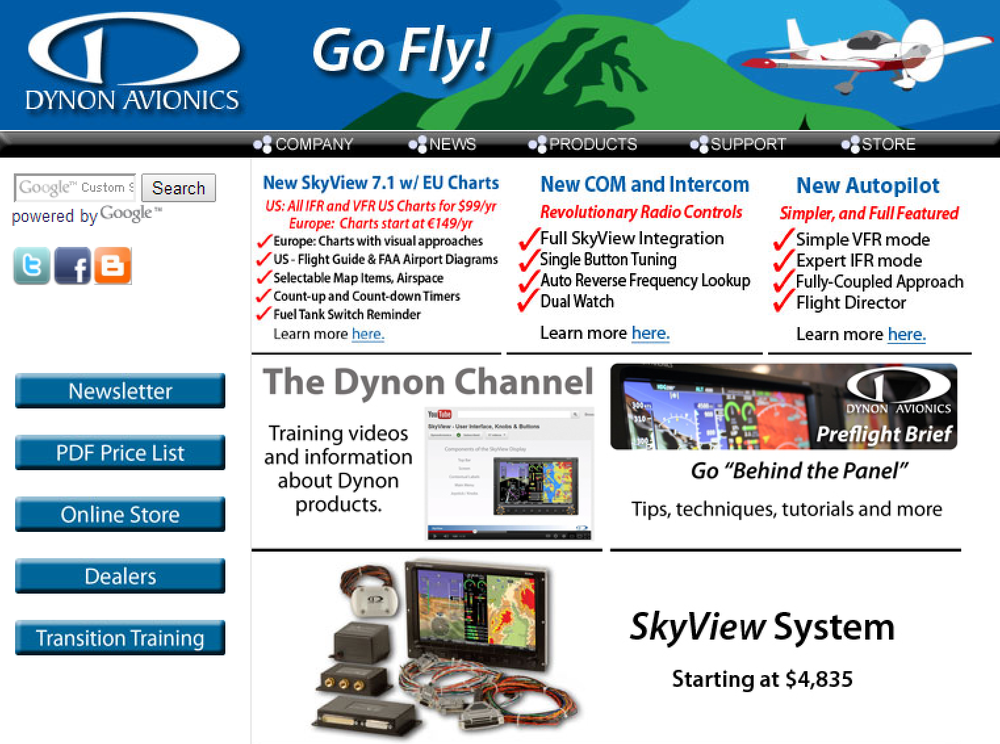 SkyView can do it all: primary flight instruments with synthetic vision, engine monitor, mapping / navigation / charts, autopilot, COM radio, intercom, transponder, ADS-B traffic/weather, and more. Learn more at the Dynon Avionics website→