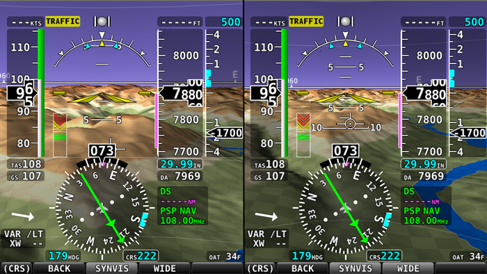 SkyView Synthetic Vision: Normal (left) and Wide (right)