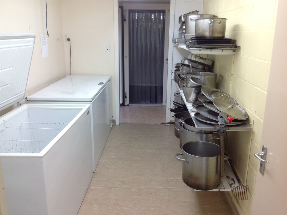 2 fridges, 2 freezers and a walk in chiller. Pots, pans and trays all supplied.