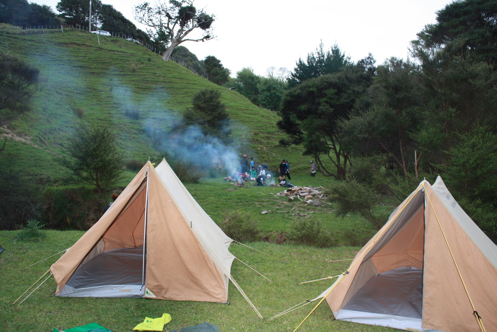 With 14 kids tents, 3 adult tents, 2 port-a-loos, cutlery, plates, cups, bowls, fire forks, ax, spade and packs all available, camps are a breeze.       You MUST contact Peter    the farm manager on 09 232 9883 if you plan to use the campsite for any reason.