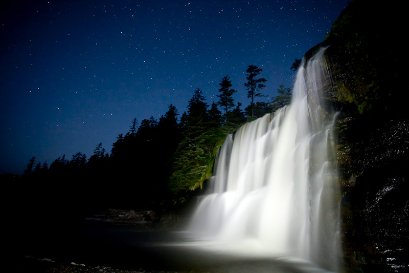 West Coast Trail Tsusiat Falls at night