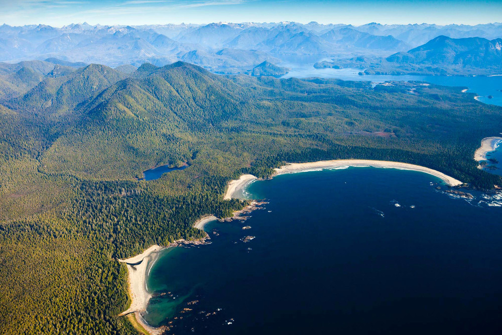 Cow Bay on Flores Island in Clayoquot Sound aerial