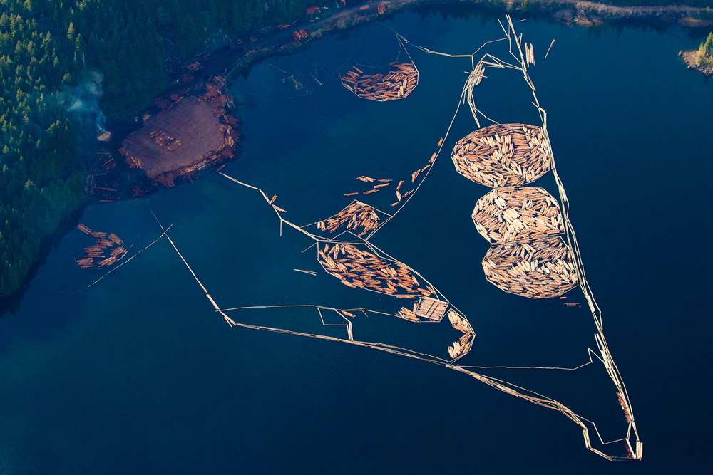 Log booms in water near Clayoquot Sound aerial view