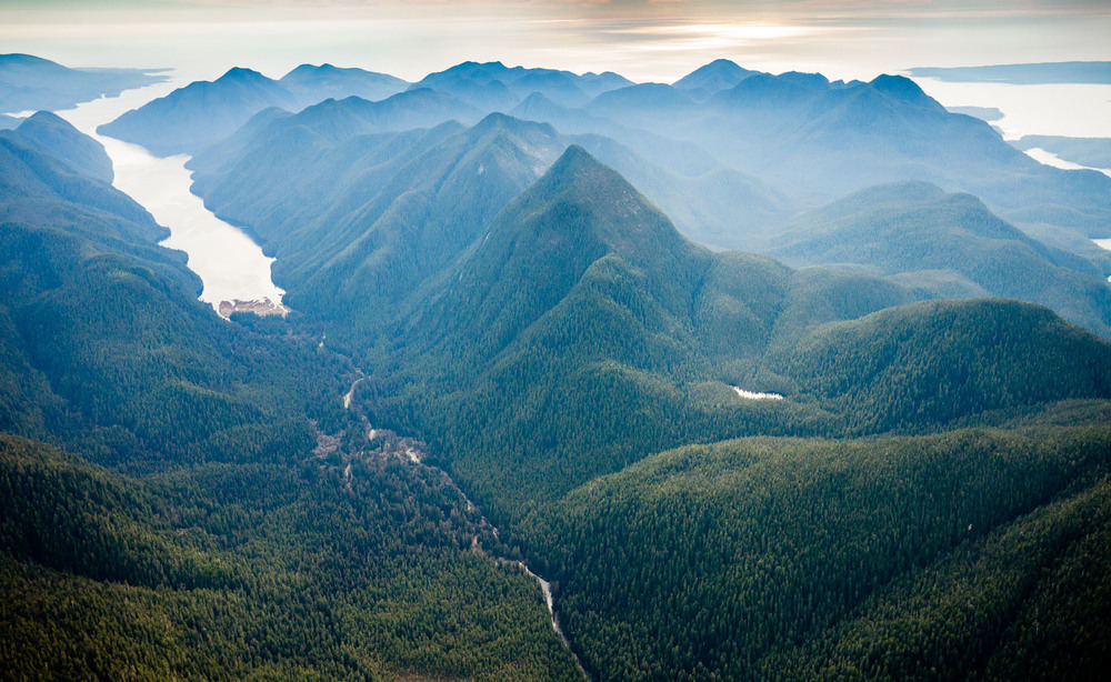 Sydney Valley in Clayoquot Sound aerial view