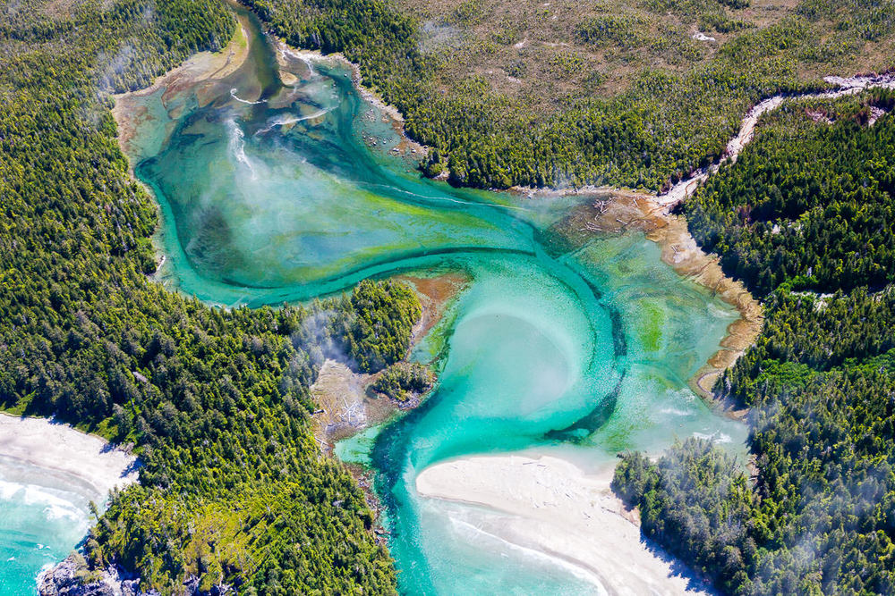This turquoise-blue lagoon, found on the remote Brooks Peninsula on northwestern Vancouver Island, is thankfully protected within a park. It appears more like scene from the Caribbean then the west coast of Canada but flights over this region have revealed a level of beauty that I may never have otherwise imagined in our country. Goal for 2016: camp on that perfect sandy beach.