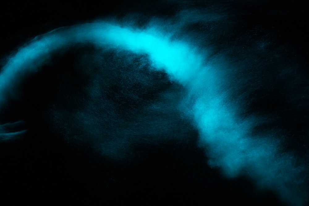 Swirling bioluminescence