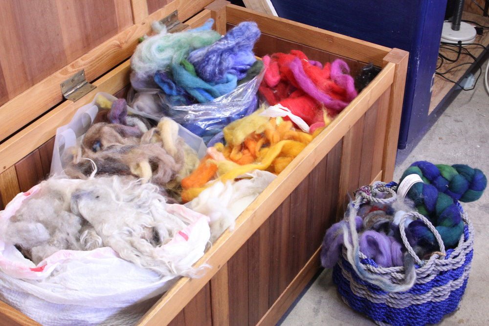 A trunk full of wool. Everything from fine silk to the felted fleece of Ashes the goat.