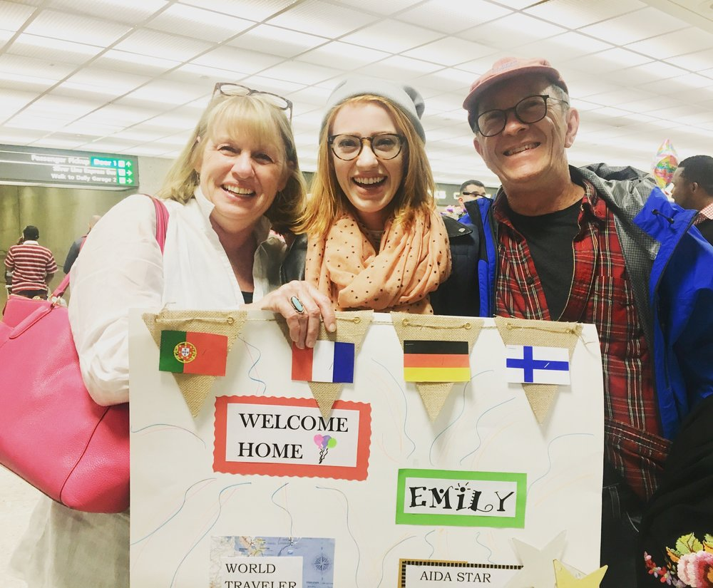 My incredible parents, meeting me after a 16-hour journey home to the states.
