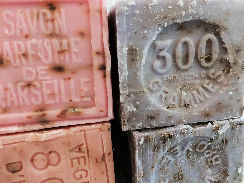 Savon de Marseille, crushed flowers soap in verbena, lavender, & rose ($12)