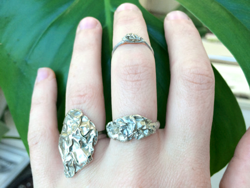 Myranda Gillies tinfoil rings cast in silver or white brass ($50-$90)