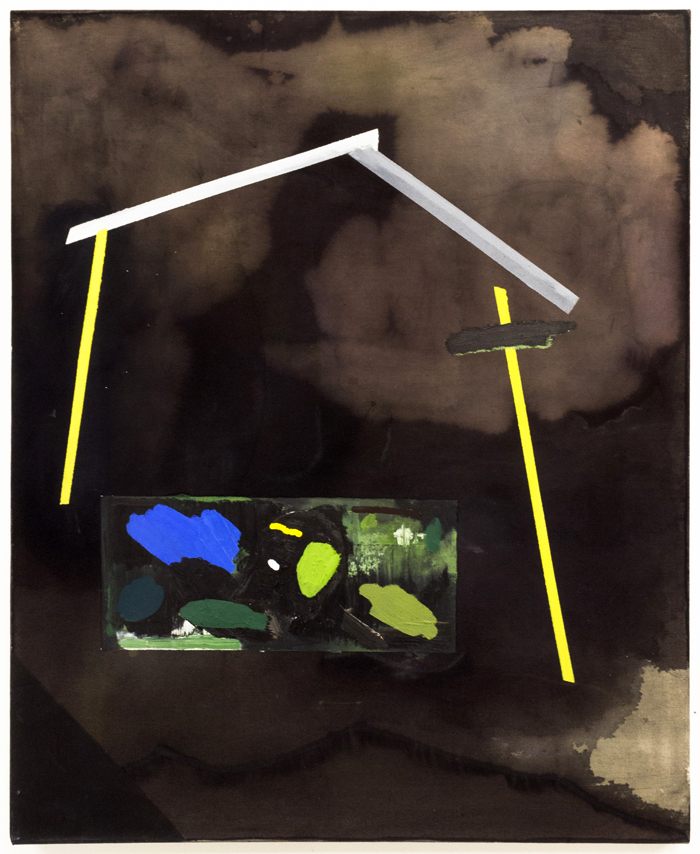 "WK (the Architects House), 2015, oil, acrylic, dye, and bleach on canvas, 41 x 33"""