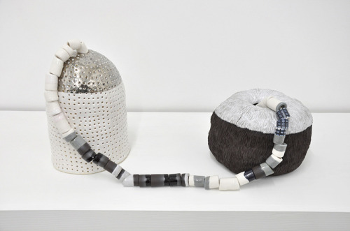 "Emily Counts, Transponders, 2015, stoneware, porcelain, platinum luster, cotton rope, 11 x 25.5 x 9"" ($1200)"
