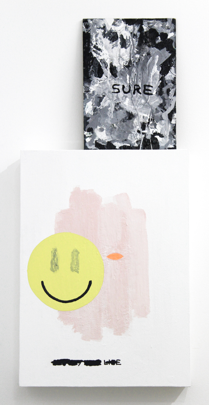 "Sure , 2015, acrylic on wood, 12 x 8"" &  Untitled , 2015, acrylic on wood, 19.5 x 14"""