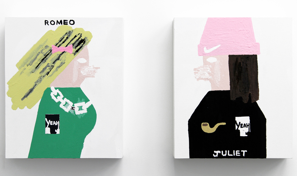 "Romeo, 2015, acrylic on wood, 16.75 x 14"" & Juliet, 2015, acrylic on wood, 16.75 x 14"" (right)"