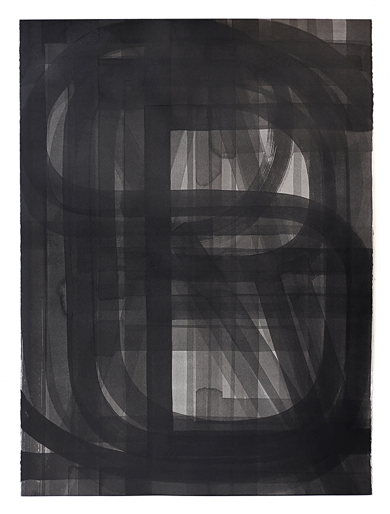 Pat Boas,  Three Triangles and Three Colors , Sumi ink on paper, 2015, Courtesy of Elizabeth Leach Gallery