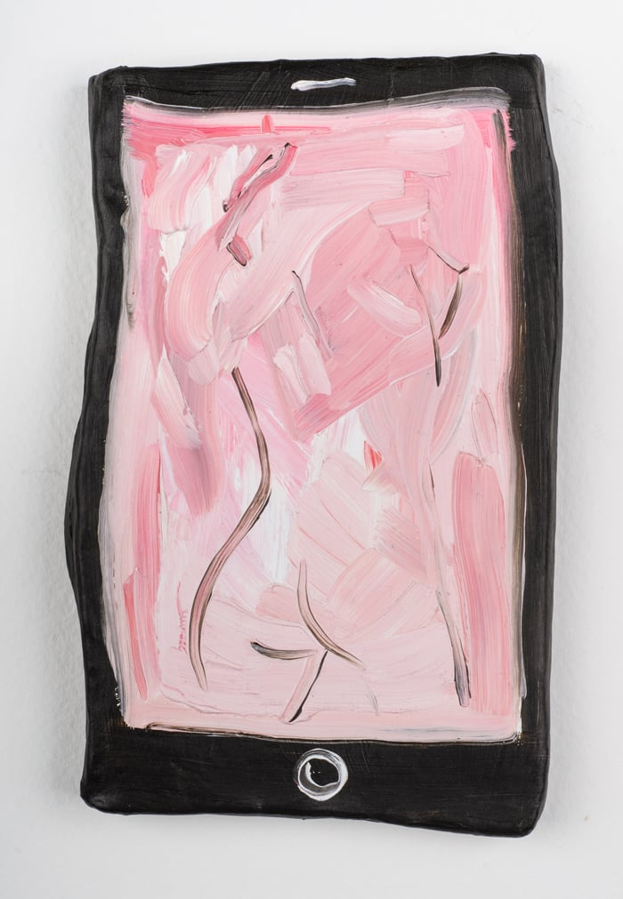 Phone Porn , 2015, oil on air dry clay, 7 x 4 1/2""
