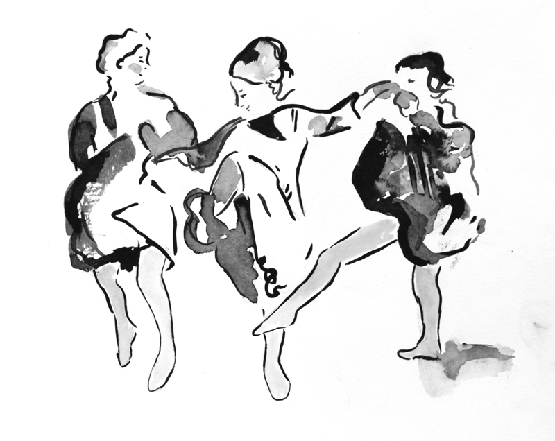 "Study of a Dancing Woman I , 2016, ink on paper, 8 x 10"" (sold)"