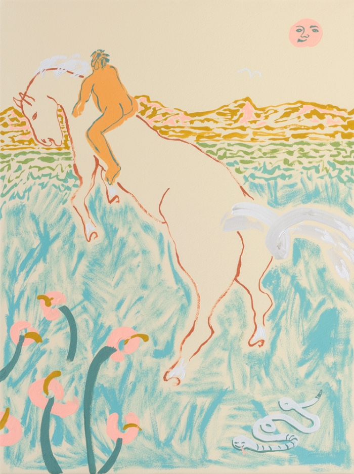 Annie McLaughlin, Bareback Meanderer (A Lonely Teenage Broncin' Buck), 2016, gouache on paper, 24 x 18""