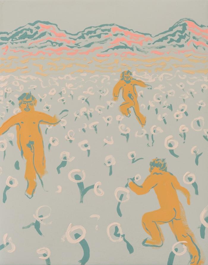 "Annie McLaughlin,Poppy Field Kickback (Eastern Sierra Nudies),2016, gouache on paper,14 x 11"""
