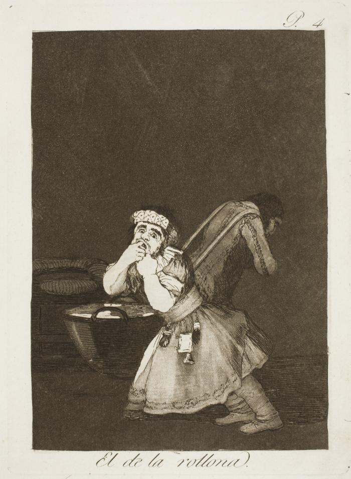 Goya, Capricho No. 4: El de la rollona (Nanny's Boy), 1799, etching, aquatint, drypoint