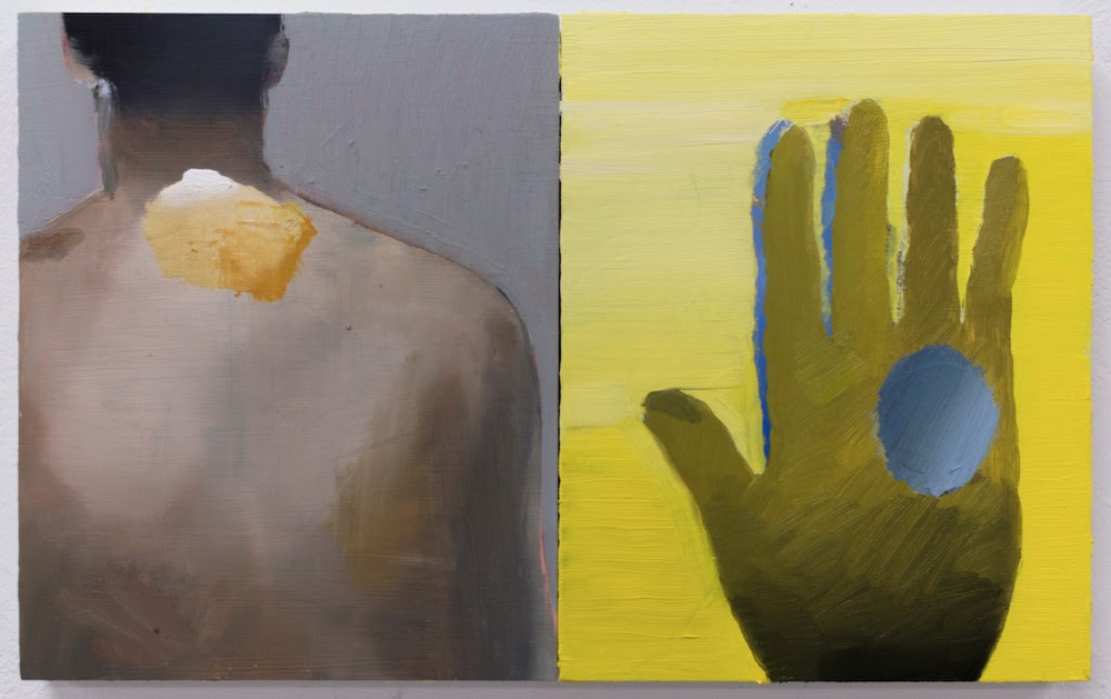 "William Matheson, Back and Weathered Glove with Pearl, 2016, oil on panel,10 x 8"" each"