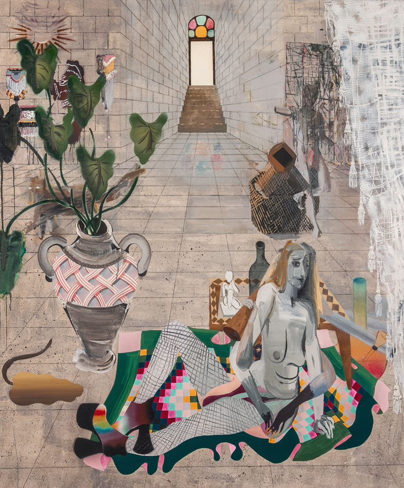 Elizabeth Malaska,  Not to Pass on Tradition, but to Break Its Hold over Us (the Archive and Its Shadow) , 2016, oil, Flashe, spray paint, and pencil on canvas