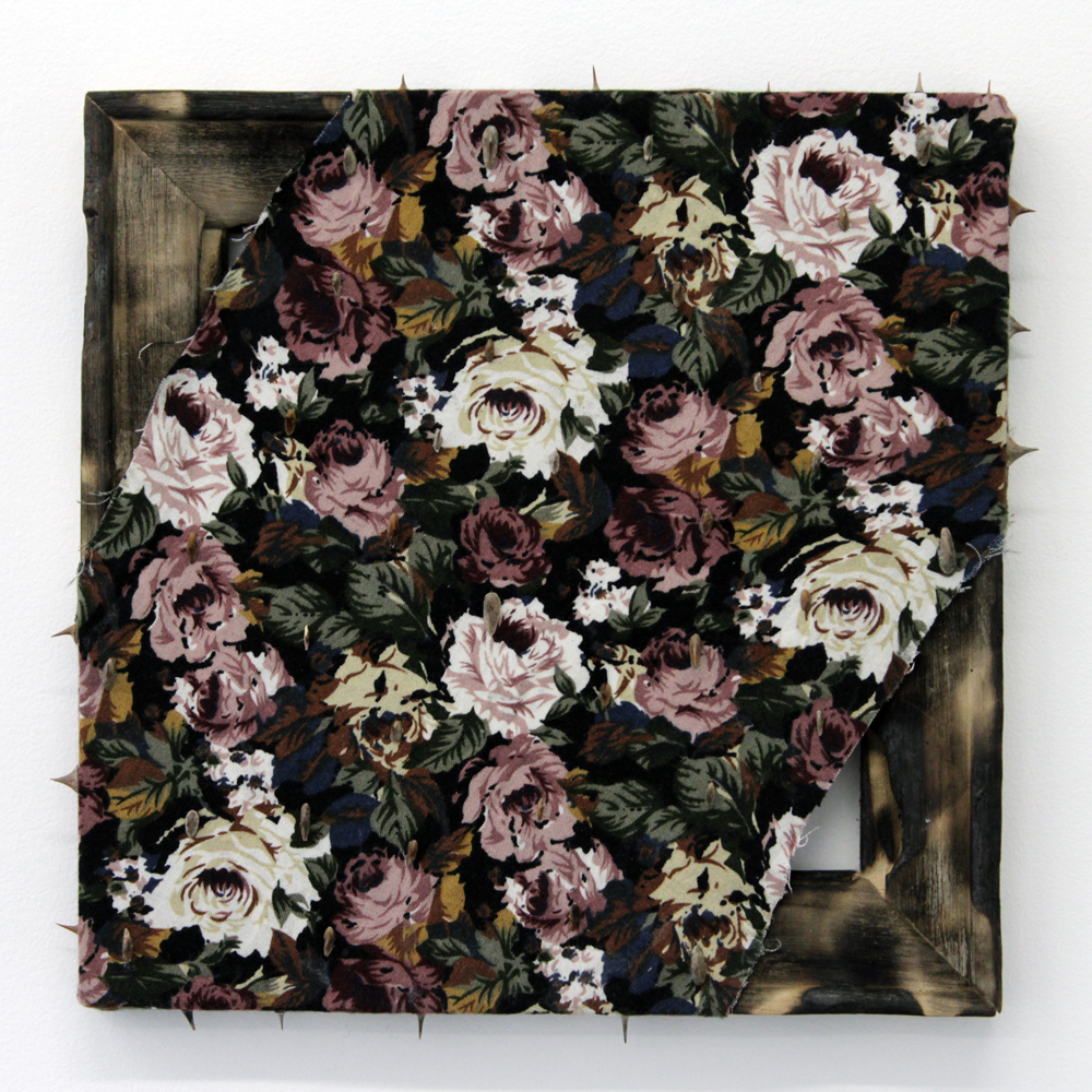 Angelica Millán,  Espinas VI , 2016, thorns on burnt fabric and wood, 10 x 10""