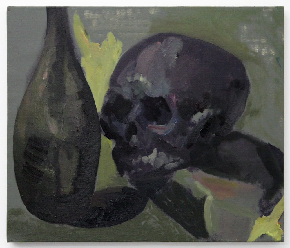 Jaik Faulk, Dark Skull and Bottle, 2016, oil on linen stretched over panel, 18.25 x 21.5""