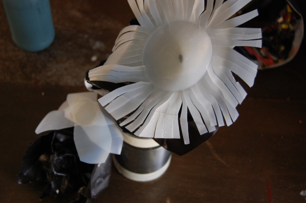 Studio flower made from a plastic bottle