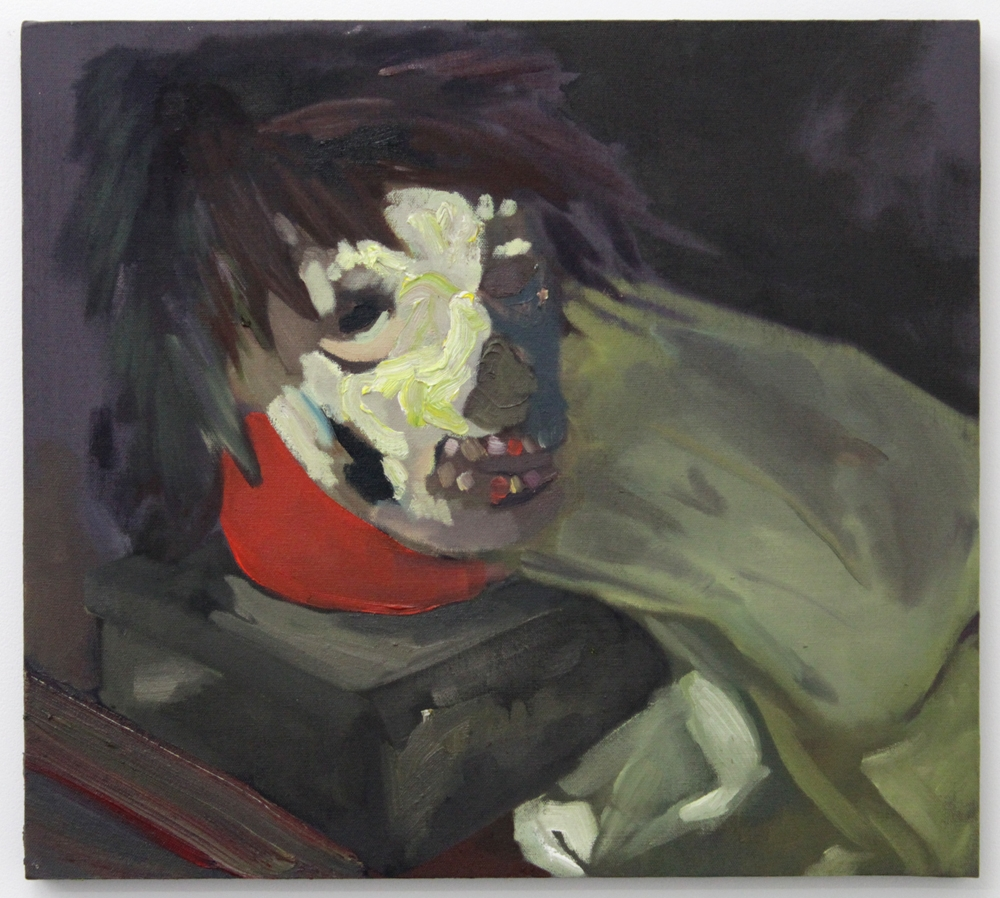 Mask with Punk Wig , 2016, oil on canvas stretched over panel, 18 x 20""