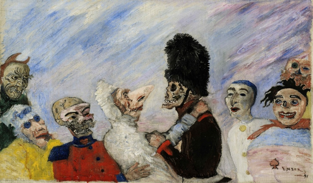 James Ensor, Squelette arrêtant masques, 1891, oil on canvas