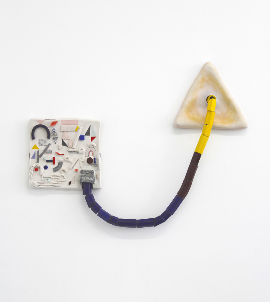 Emily Counts, Circuit Symbols, 2017, porcelain and nylon rope, 21 (h) x 28 x 2.5""