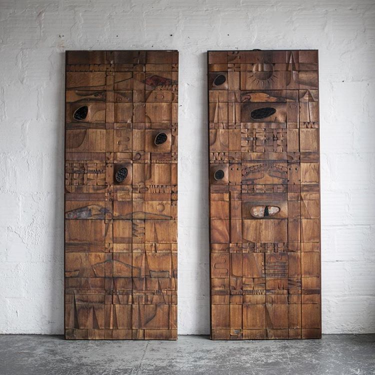 Leroy Setziol large wood panel carvings, photo: @thegoodmod