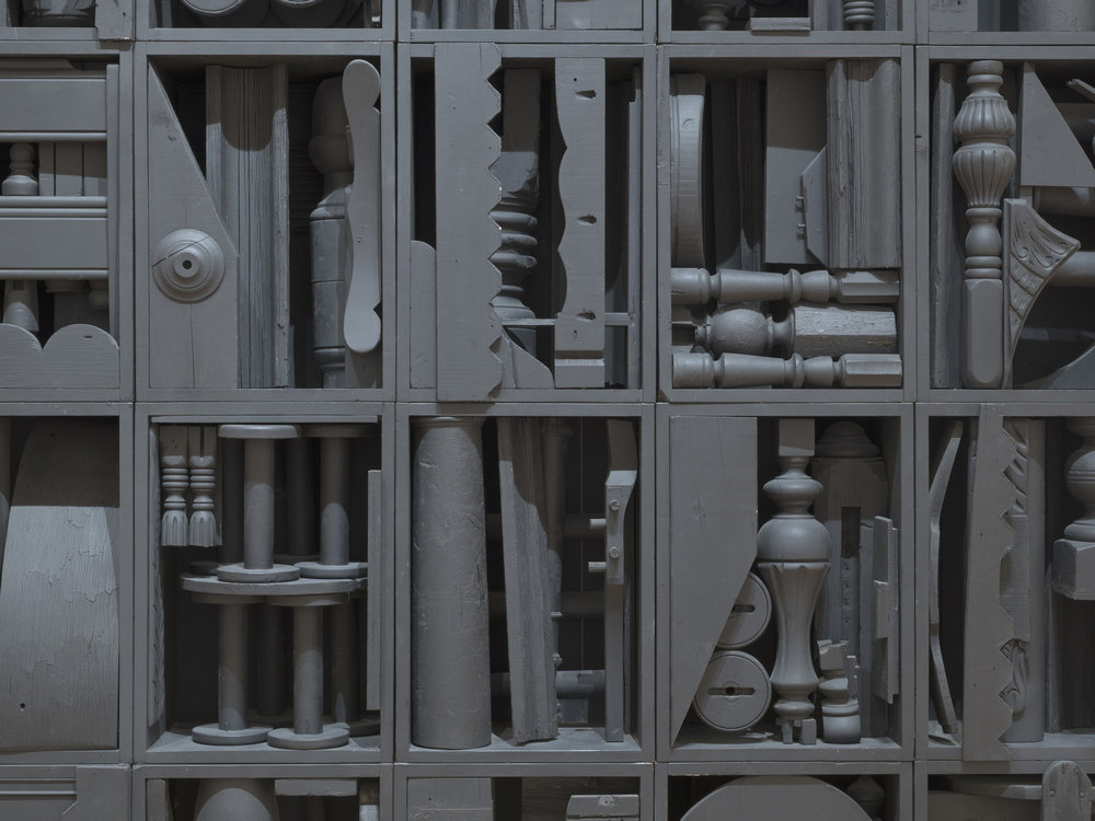 "Louise Nevelson, Big Black, 1963, painted wood, 9' 1/4"" x 10' 5 3/4"" x 12"", photo: MoMA NY"
